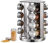 Gewürzregal Küchenregal Gewürz-Ständer Gewürzkarussel mit 16 Gewürzgläsern, Gewürzdosen zum Streuen Drehbarer Kräuter- und Gewürzhalter, Gewürzständer für Gewürzstreuer Ölfläschchen Gewürzdosen