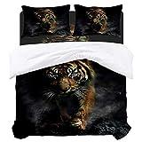 YnimioHOB Mysterious Bengal Tiger Bettwäsche-Sets Bettbezug-Set, 3-teilige Cool Lightweight Mikrofaser Bett Bettbezug mit 2 Kissenbezügen & Reißverschluss & Eckbindungen