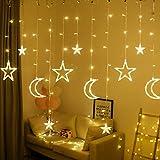 Fangteke LED Lichterketten 3.5M Stern Mond Vorhang Lichter LED Girlande Dekorative Lampe für Hochzeit Hausgarten Weihnachten Fenster Vorhang Dekoration