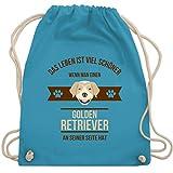 Shirtracer Hunde - Das Leben ist viel schöner wenn man einen Golden Retriever an seiner Seite hat - Unisize - Hellblau - turnbeutel hund - WM110 - Turnbeutel und Stoffbeutel aus Baumwolle