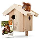 wildtier herz I Eichhörnchen Kobel – Nest für Eichhörnchen aus verschraubtem Massiv-Holz, Eichhörnchenhaus und Nistkasten zum Hängen für den Garten