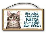 EIN LEBEN OHNE KATZE - HOLZSCHILD MDF 25x12,5 cm 56 KATZENSCHILD KATZE CAT