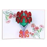 Pop-Up Karte Blumenstrauß Grußkarte 3D Gefaltete Grußkarte Geburtstag Muttertag Valentinstag (Haufen Nelken)