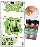Familienplaner 2021 – FLORAL | UK – IN ENGLISH | 5 Spalten | Wandkalender: 23x43cm | Familienkalender mit Blumen-Design | Extras: 228 Sticker, Jahresübersicht, Vorschau bis März 2022