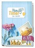 Family-Timer 2021 A5 - Der Familien-Kalender! 12 Monate: Januar bis Dezember 21 | Familien-Planer für bis zu 4 Personen + viele hilfreiche Features | nachhaltig & klimaneutral
