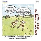 Löwe Mini 2021: Sternzeichenkalender-Cartoon - Minikalender im praktischen quadratischen Format 10 x 10 cm.