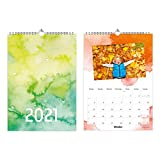 A4 Fotokalender zum selbstgestalten - Bastelkalender Kreativkalender Watercolor Wasserfarben Aquarell - mit Feiertagen 2021-1 Deckblatt + 12 Kalenderblätter