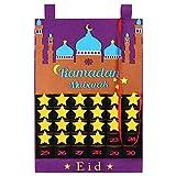 GoldPang Ramadan Kalender Filz Ramadan Kalender Eid Mubarak Hängen Countdown-Kalender Adventskalender 2021 für Kinder Eid Geschenke Ramadan Dekorationen