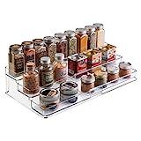 mDesign Gewürzregal für Küchenschrank und Arbeitsfläche – ausziehbarer Gewürzständer aus Kunststoff für Ordnung in der Küche – praktischer Küchen-Organizer auf 3 Ebenen – durchsichtig