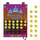 Heveer Ramadan Countdown Kalender Eid Mubarak Filzkalender Wandbehang mit Zuckertaschen für Kinder Geschenke Ramadan Party