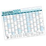 itenga XXL Premium Bayern Jahresplaner 2021 Wandkalender DIN A0 (118,9x84,1cm) 250g/m² gerollt stabil blau weiß