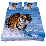 Eslifey Bengal Tiger Weiches Bettwäsche-Set für Schlafzimmer, 150 x 200 cm, 3-teilig, Chemisches Gewebe, Mehrfarbig, Twin 59 x 79/19 x 29 in