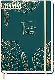 Chäff-Timer Premium Kalender 2021/2022 A5 [Goldblüte] Terminplaner 18 Monate: Juli 21 - Dez. 22 | Terminkalender, Wochenplaner, Wochenkalender, Organizer mit Gummiband und Einstecktasche