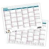itenga Jahresplaner Kalender 2022 Tafelkalender Wandkalender klein DIN A5 stabile Ausführung - beidseitig bedruckt jede Seite 6 Monate