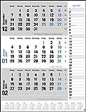 3-Monats-Planer in blau - 3-Monatskalender 2021 mit Datumsschieber - Bürokalender mit praktischer Notizspalte und Jahresübersicht - Format 30 x 39 cm