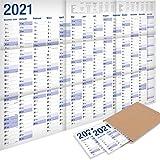 2er-Pack: Yohmoe® XXL Jahresplaner 2021 Wandkalender (100 x 70 cm) GEFALZT in Poster Größe. Querformat, gefaltet - Wandplaner, Jahreskalender, Plakatkalender, Kalender Groß. 2 Stück