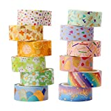 Washi Tape,12 Rollen Washi Klebeband Set Dekoratives Washi-Tape Niedliche Goldfolie Blume Dekorative Masking Tape für DIY Art & Crafts,15mm x 3m