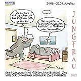 Jungfrau Mini 2022: Sternzeichenkalender-Cartoon - Minikalender im praktischen quadratischen Format 10 x 10 cm.