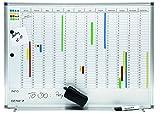 Genie AP2000 Jahresplaner-Beschreibbare Magnettafel (Monats-, Jahreseinteilung, Aluminium Rahmen, 77 x 56 cm)