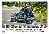Foto-Wandkalender Motorräder 2021 A3 quer mit Feiertagen für Deutschland, Östereich und die Schweiz - Mit Platz für Notizen
