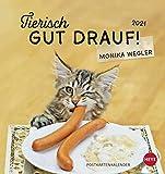 Tierisch gut drauf Postkartenkalender 2021 von Monika Wegler - Kalender mit perforierten Postkarten - zum Aufstellen und Aufhängen - mit Monatskalendarium - Format 16 x 17 cm