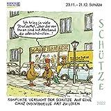 Schütze Mini 2022: Sternzeichenkalender-Cartoon - Minikalender im praktischen quadratischen Format 10 x 10 cm.