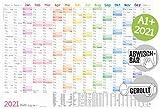 Abwischbarer Wandkalender 2021 groß [Rainbow] 89 cm x 63 cm (größer als A1), gerollt | 15 Monate: Nov 2020 - Jan 2022 | Wandplaner mit Ferien- und Feiertage-Übersicht | klimaneutral & nachhaltig
