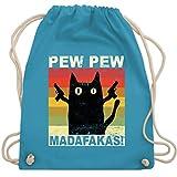 Sprüche Statement mit Spruch - Pew Pew Madafakas Katze Vintage hell - Unisize - Hellblau - Statement - WM110 - Turnbeutel und Stoffbeutel aus Baumwolle