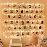 LED Fotoclips Lichterkette, WOWDSGN 12M 120LEDs Fotolichterkette mit 100 Klammern und 30 Nägel 8 Mode USB/Batterie betrieben Bilder Polaroid Lichterkette für Zimmer,Wand,Fenster,Weihnachten,Hochzeit