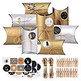 CENXINY Adventskalender zum Befüllen 24 STK Schachteln Golden und Silber, Weihnachtskalender Geschenkpäckchen Kapazität 12,8 * 9,5 * 4,5cm, 10M Hanfseil, 24 Zahl-Aufkleber und 24 Klammer Mitgeliefert