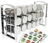 LEANDER DESIGN® Gewürzregal mit 18 Gewürzgläsern – Spice Rack Organizer für Küchenschrank und Arbeitsfläche – mit Gewürzetiketten im Gewürzständer