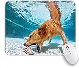 Mobeiti Gaming Mouse Pad, Hund Haustier Welpe hat Spaß Sprung Pool Tauchen unter Wasser, um Shell Sommer rutschfeste Gummi Backing Mousepad für Notebooks Computer Maus Matten zu holen