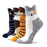 EYNOCA Bunte Lustige Socken Damen, Stricken Lustige Socken Oddsocks, Karikatur Tier Witzige Niedlich Katzen Socken, Warme Socken Geschenkideen für Frauen Mädchen Sockengröße 35-42