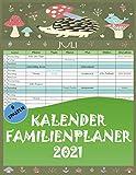 Kalender Familienplaner 2021 mit 6 Spalten, 22 x 28 cm | kalender für 12 Monate: January 2021 - Dezember 2021 | Familienkalender mit Ferientermine und vorschau bis März 2022.