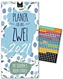 Paarplaner 2021– FLORAL | 3 Spalten | Wandkalender: 16x32,5cm | Partnerkalender in schönem Blumen-Design | Extras: 228 Sticker, Ferien, Jahreskalender, Vorschau bis März 2022