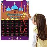 Suszian Filz Ramadan, Eid Mubarak Countdown-Kalender Filz Eid Mubarak Adventskalender Ramadan Party Dekoration