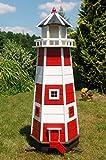 Deko-Shop-Hannusch Wunderschöner großer XXL Leuchtturm aus Holz mit SOLAR Beleuchtung 1,40 m, rot/Weiss, Solarbeleuchtung,