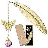 Lesezeichen, Metall Feder Lesezeichen mit Witzige 3D Schmetterling Trockenblumen Perlen Anhänger für Frauen Männer, Metallfeder Lesezeichen Seitenmarker Geschenke für Kinder Mädchen Erwachsene Leser