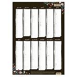 A3 Wandkalender & Jahresplaner 2022, Kalender für die Wand, Jahresübersicht Hochformat, Recyclingkarton klimaneutral gedruckt, Schwarz Weiß in blumig floral, Kalligrafie Design
