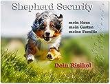 Merchandise for Fans Warnschild - Schild aus Aluminium 20x30cm - Motiv: Australian Shepherd Security (01)