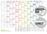 Abwischbarer Wandkalender 2020 groß [Rainbow] 89 cm x 63 cm (größer als A1), gerollt | 15 Monate: Nov 2019 - Jan 2021 | Wandplaner mit Ferien- und Feiertage-Übersicht, FSC®-Papier