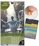 Familienplaner 18 Monate: Jul 21-Dez 22   WEISHEITEN   5 Spalten   Wandkalender: 23x43cm   Familienkalender + 228 Sticker, Ferien 21/22, Monatskalender, Jahresplaner, Sprüche, Motivation, Zitate