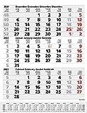 3-Monats-Planer Comfort Grau 2022: 3-Monatskalender groß I Wandplaner / Bürokalender mit Datumsschieber, Vor-und Nachmonat und Jahresübersicht I 30 x 39 cm