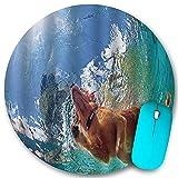 Rundes Mauspad Rutschfester Gummi, lustiger goldener Labrador Retriever-Welpen unter Wasser Schwimmen im Pool Glückliche, wasserdichte, haltbare Mausmatte Büro-Desktops Persönlichkeit 7,9 'x 7,9'