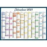 2021 Kalender Poster Bunt DIN A1 Jahresplaner Wandplaner Wandkalender gefalzt Wandkalender Wandplaner Posterkalender Jahresplaner Jahresübersicht