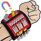 Magnetisches Armband Werkzeug, Sinwind Bestes Männer Geschenke Magnetisches Armband, Magnetarmband Handwerker mit 15 Leistungsstarken Magneten, adventskalender männer 2020, Papa Geschenk (Rot)
