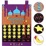 Eid Kalender Countdown Kalender 2021 Ramadan Kalender Eid Kalender Aktivitäten für Kinder mit 30 wiederverwendbaren Sternen Ramadan Mubarak Dekor