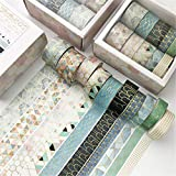 SWECOMZE 10 Rollen Washi Tape Set, Dekoratives Klebeband, DIY Papier Tape, Masking Tape Klebebänder Set (F)