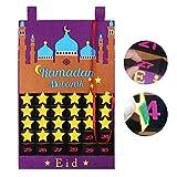 Lila Ramadan Tracker, Countdown Ramadan Kalender, Eid Mubarak Filz mit Bonbontaschen für Kinder Geschenke Ramadan Party