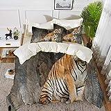 Bettwäsche - Bettbezug-Set, Zoo, Bengal Tiger Feline Predator Aggressiver Jäger Fleischfresser Afrika Safari Dekorativ, L, hypoallergenes Mikrofaser-Bettbezug-Set mit 2 Kissenbezügen 50 x 75 cm